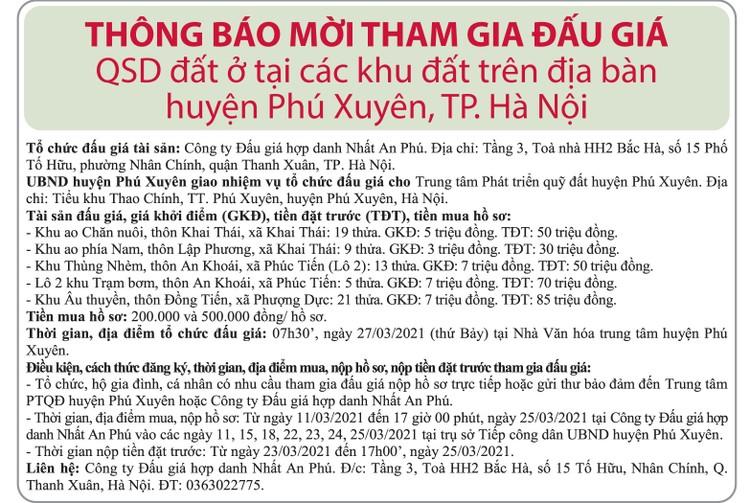 Ngày 27/3/2021, đấu giá quyền sử dụng đất tại huyện Phú Xuyên, Hà Nội ảnh 1