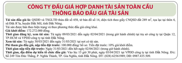 Ngày 5/4/2021, đấu giá quyền sử dụng đất tại huyện Đắk Mil, tỉnh Đắk Nông ảnh 1