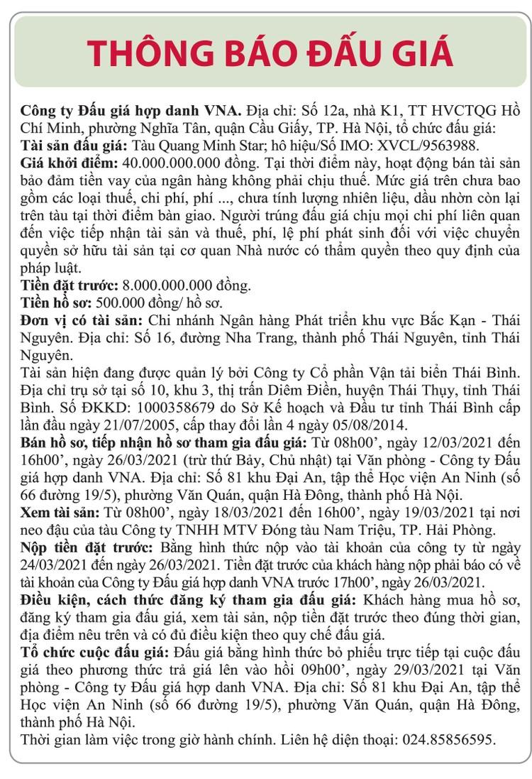 Ngày 29/3/2021, đấu giá tàu Quang Minh star tại Hà Nội ảnh 1