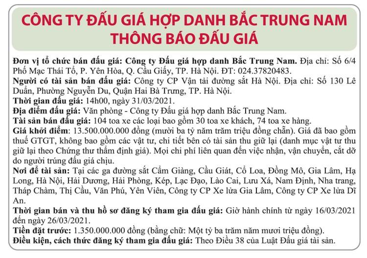 Ngày 31/3/2021, đấu giá 104 toa xe các loại tại Hà Nội ảnh 1