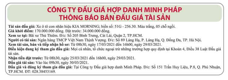 Ngày 30/3/2021, đấu giá xe ô tô Kia Morning tại TPHCM ảnh 1