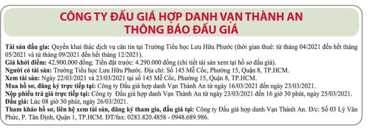 Ngày 26/3/2021, đấu giá quyền khai thác dịch vụ căn tin tại Trường tiểu học Lưu Hữu Phước, TPHCM ảnh 1