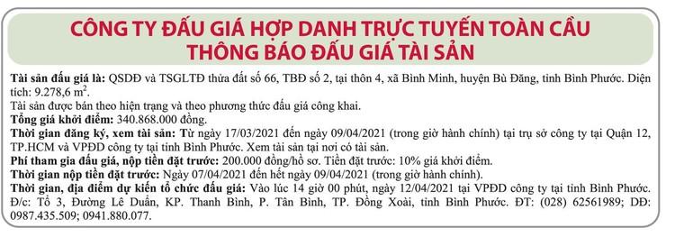 Ngày 12/4/2021, đấu giá quyền sử dụng đất tại huyện Bù Đăng, tỉnh Bình Phước ảnh 1