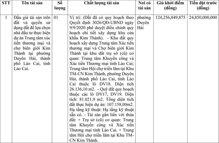 Ngày 23/3/2021, đấu giá quyền sử dụng đất tại thành phố Lào Cai, tỉnh Lào Cai ảnh 1