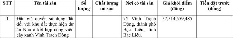 Ngày 1/4/2021, đấu giá quyền sử dụng đất tại thành phố Bạc Liêu, tỉnh Bạc Liêu ảnh 1