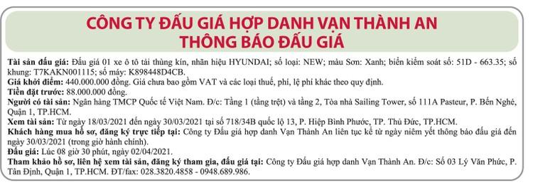 Ngày 2/4/2021, đấu giá xe ô tô tải Huyndai tại TPHCM ảnh 1