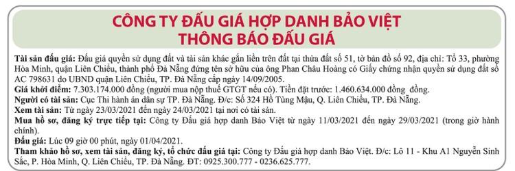 Ngày 1/4/2021, đấu giá quyền sử dụng đất tại quận Liên Chiểu, thành phố Đà Nẵng ảnh 1