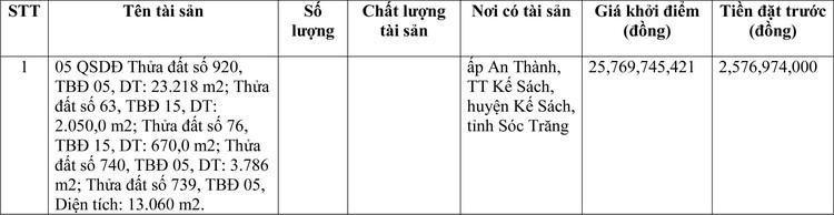 Ngày 2/4/2021, đấu giá quyền sử dụng đất tại huyện Kế Sách, tỉnh Sóc Trăng ảnh 1
