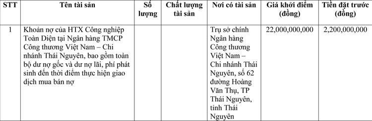 Ngày 9/4/2021, đấu giá khoản nợ HTX Công nghiệp Toàn Diện tại Vietinbank Chi nhánh Thái Nguyên ảnh 1