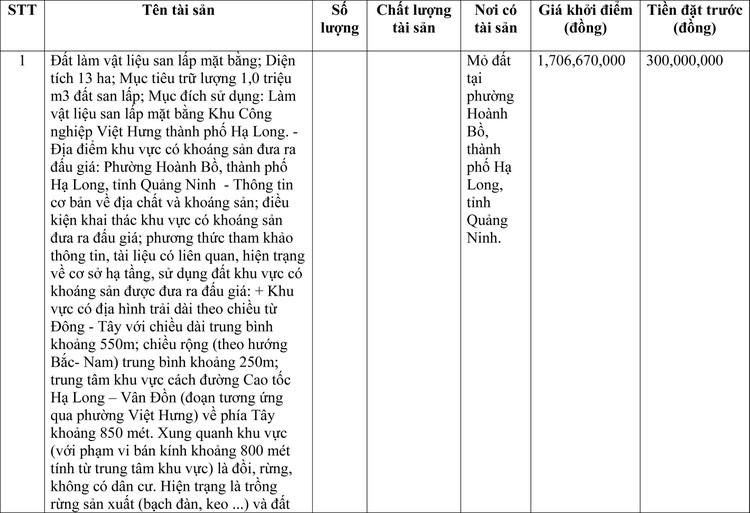 Ngày 2/4/2021, đấu giá 1 triệu m3 đất san lấp tại tỉnh Quảng Ninh ảnh 1