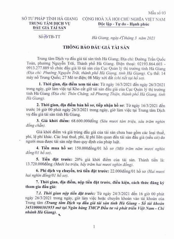 Ngày 31/3/2021, đấu giá hàng hóa tịch thu tại tỉnh Hà Giang ảnh 1
