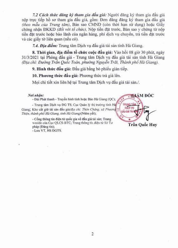 Ngày 31/3/2021, đấu giá hàng hóa tịch thu tại tỉnh Hà Giang ảnh 2