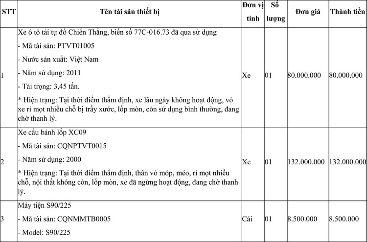 Ngày 8/4/2021, đấu giá lô máy móc thiết bị, vật tư và phương tiện vận tải đã qua sử dụng tại tỉnh Bình Định ảnh 1