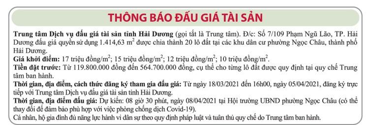 Ngày 8/4/2021, đấu giá quyền sử dụng đất tại thành phố Hải Dương, tỉnh Hải Dương ảnh 1