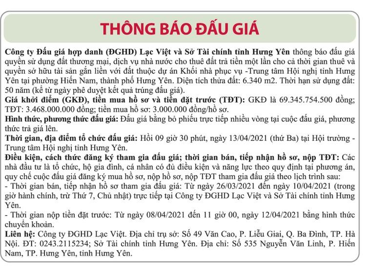 Ngày 13/4/2021, đấu giá quyền sử dụng đất tại TP.Hưng Yên, tỉnh Hưng Yên ảnh 1