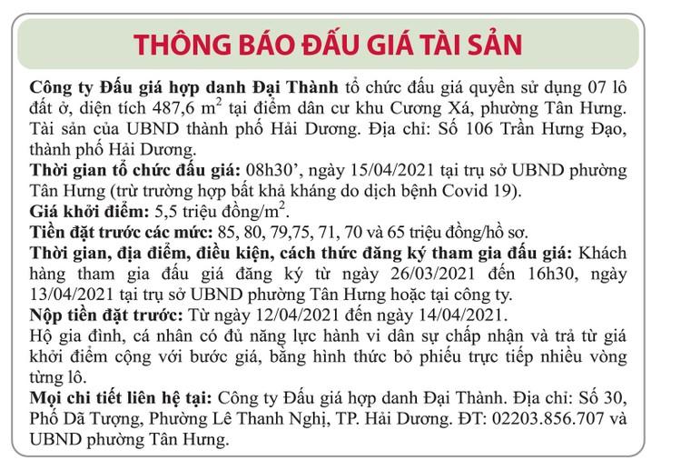 Ngày 15/4/2021, đấu giá quyền sử dụng đất tại thành phố Hải Dương, tỉnh Hải Dương ảnh 1