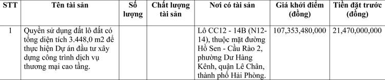 Ngày 9/4/2021, đấu giá quyền sử dụng đất tại quận Lê Chân, thành phố Hải Phòng ảnh 1