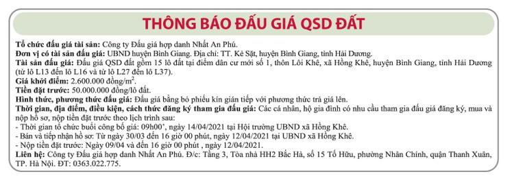 Ngày 14/4/2021, đấu giá quyền sử dụng đất tại huyện Bình Giang, tỉnh Hải Dương ảnh 1