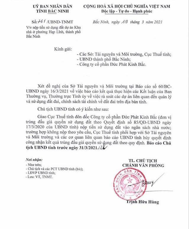 """Bắc Ninh thu lại đất đấu giá dự án nhà ở """"chây ì"""" nộp tiền sử dụng đất ảnh 1"""