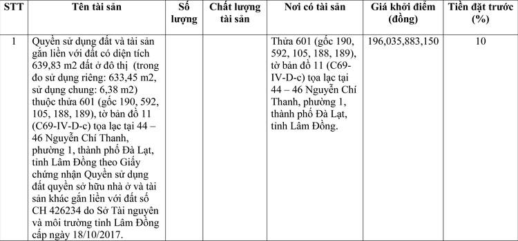 Ngày 29/4/2021, đấu giá quyền sử dụng đất tại thành phố Đà Lạt, tỉnh Lâm Đồng ảnh 1