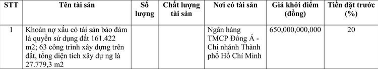 Ngày 20/4/2021, đấu giá khoản nợ xấu có tài sản bảo đảm tại Ngân hàng TMCP Đông Á - Chi nhánh thành phố Hồ Chí Minh ảnh 1