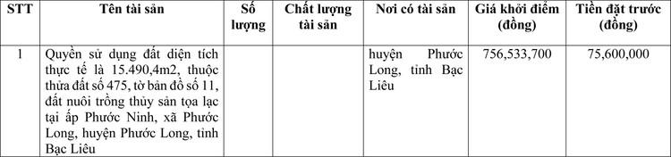 Ngày 29/4/2021, đấu giá quyền sử dụng đất tại huyện Phước Long, tỉnh Bạc Liêu ảnh 1