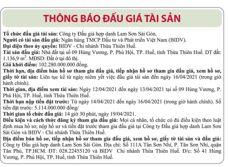 Ngày 19/4/2021, đấu giá nhà đất tại TP. Huế, tỉnh Thừa Thiên Huế ảnh 1
