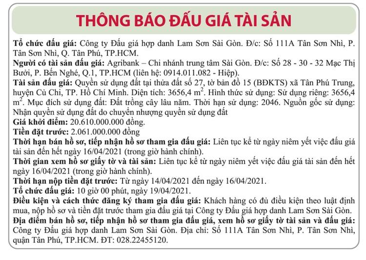 Ngày 19/4/2021, đấu giá quyền sử dụng đất tại huyện Củ Chi, TP.HCM ảnh 1
