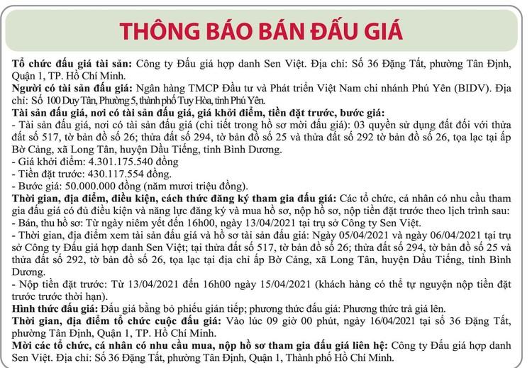 Ngày 16/4/2021, đấu giá quyền sử dụng đất tại huyện Dầu Tiếng, tỉnh Bình Dương ảnh 1