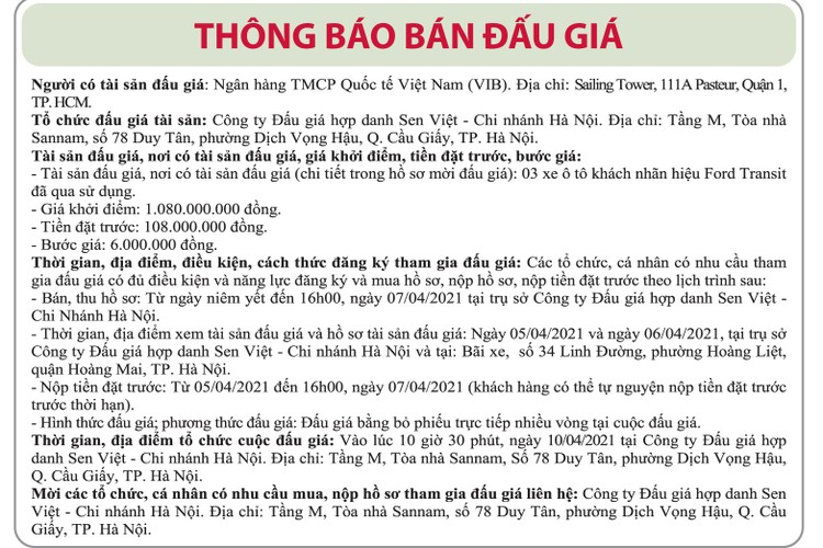 Ngày 10/4/2021, đấu giá xe ô tô Ford Transit tại Hà Nội ảnh 1