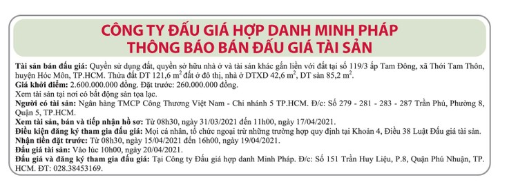 Ngày 20/4/2021, đấu giá quyền sử dụng đất tại huyện Hóc Môn, TP.HCM ảnh 1
