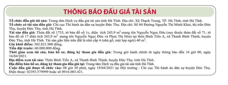 Ngày 19/4/2021, đấu giá quyền sử dụng đất tại huyện Đức Thọ, tỉnh Hà Tĩnh ảnh 1