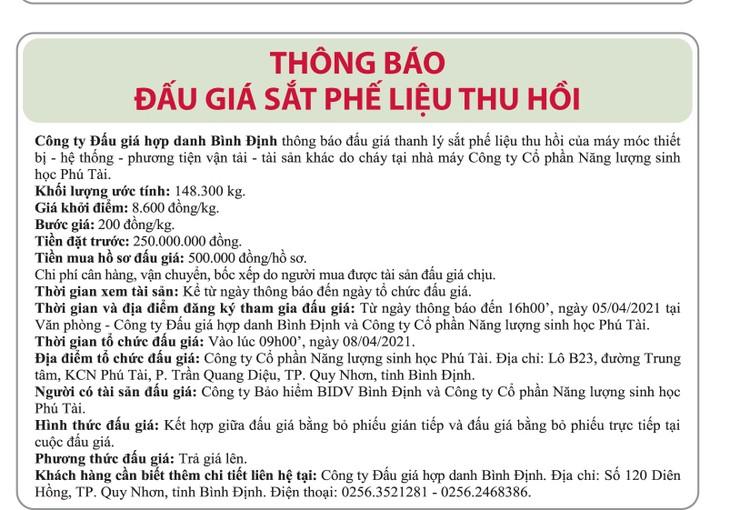 Ngày 8/4/2021, đấu giá sắt phế liệu thu hồi tại tỉnh Bình Định ảnh 1
