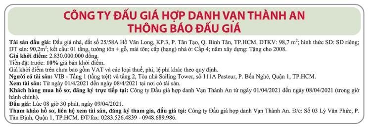 Ngày 9/4/2021, đấu giá quyền sử dụng đất tại quận Bình Tân, TP.HCM ảnh 1
