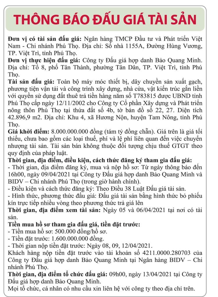 Ngày 13/4/2021, đấu giá toàn bộ máy móc thiết bị gắn liền với quyền sử dụng đất tại huyện Tam Nông, tỉnh Phú Thọ ảnh 1