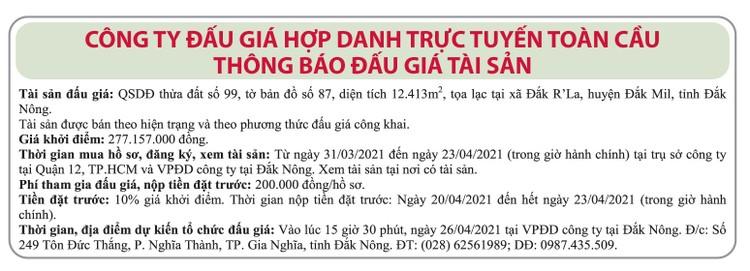 Ngày 26/4/2021, đấu giá quyền sử dụng đất tại huyện Đắk Mil, tỉnh Đắk Nông ảnh 1
