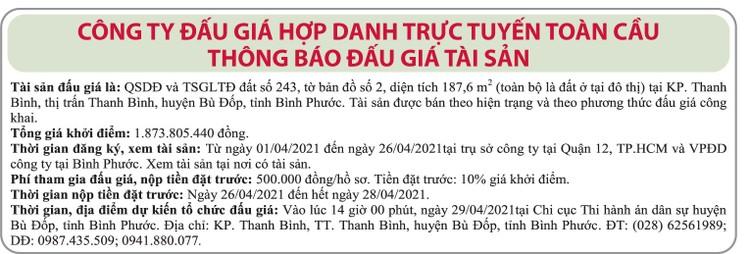 Ngày 29/4/2021, đấu giá quyền sử dụng đất tại huyện Bù Đốp, tỉnh Bình Phước ảnh 1