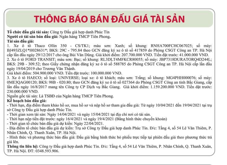 Ngày 22/4/2021, đấu giá lô xe ô tô tại Hà Nội ảnh 1