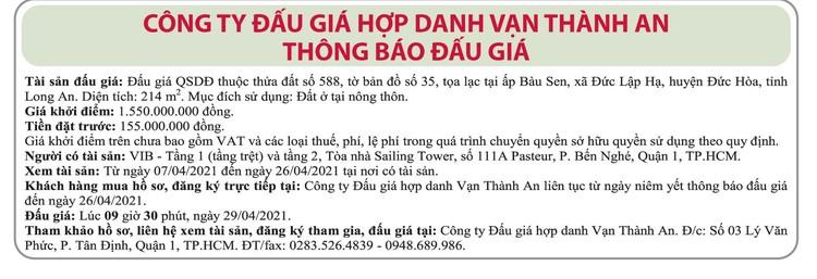 Ngày 26/4/2021, đấu giá quyền sử dụng đất tại huyện Đức Hòa, tỉnh Long An ảnh 1