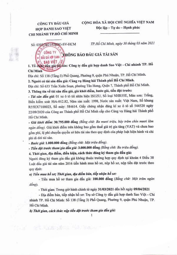 Ngày 14/4/2021, đấu giá xe ô tô Isuzu tại TP. Hồ Chí Minh ảnh 1