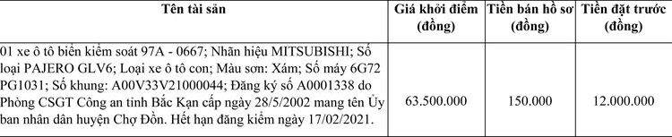 Ngày 19/4/2021, đấu giá xe ô tô MITSUBISHI tại tỉnh Bắc Kạn ảnh 1
