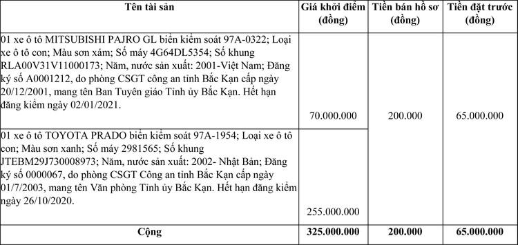 Ngày 16/4/2021, đấu giá xe ô tô MITSUBISHI tại tỉnh Bắc Kạn ảnh 1