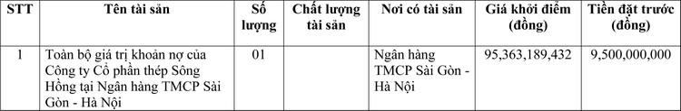 Ngày 14/4/2021, đấu giá toàn bộ giá trị khoản nợ của Công ty CP thép Sông Hồng tại SHB ảnh 1