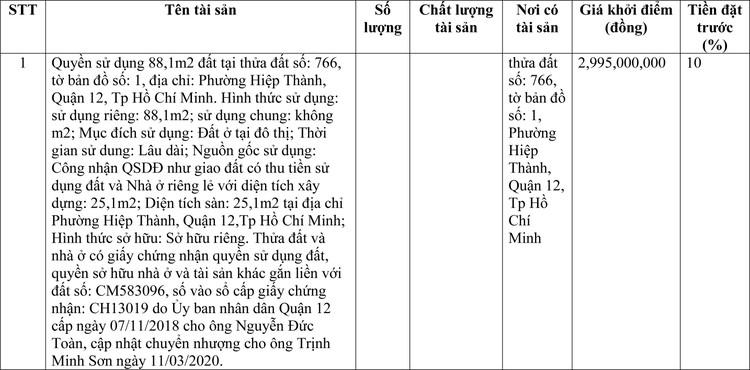 Ngày 29/4/2021, đấu giá quyền sử dụng đất tại Quận 12, TP.Hồ Chí Minh ảnh 1