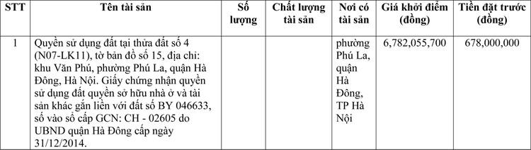 Ngày 13/5/2021, đấu giá quyền sử dụng đất tại quận Hà Đông, Hà Nội ảnh 1