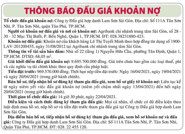 Ngày 22/4/2021, đấu giá khoản nợ của khách hàng Lê Thị Tuyết Minh tại Agribank Chi nhánh trung tâm Sài Gòn ảnh 1