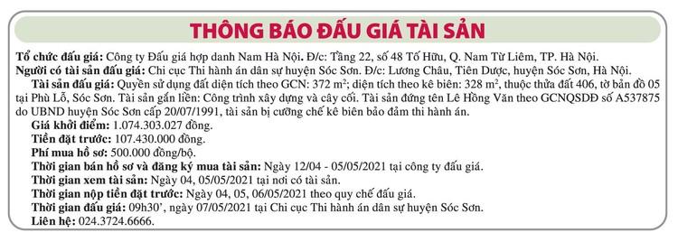 Ngày 7/5/2021, đấu giá quyền sử dụng đất tại huyện Sóc Sơn, Hà Nội ảnh 1