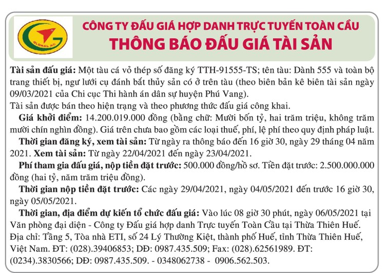 Ngày 6/5/2021, đấu giá tàu cá vỏ thép tại tỉnh Thừa Thiên Huế ảnh 1