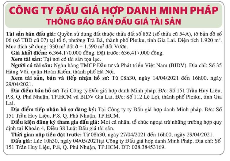 Ngày 4/5/2021, đấu giá quyền sử dụng đất tại TP.Pleiku, tỉnh Gia Lai ảnh 1