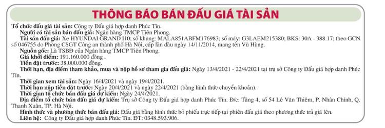 Ngày 24/4/2021, đấu giá đấu giá xe ô tô Huyndai tại Hà Nội ảnh 1